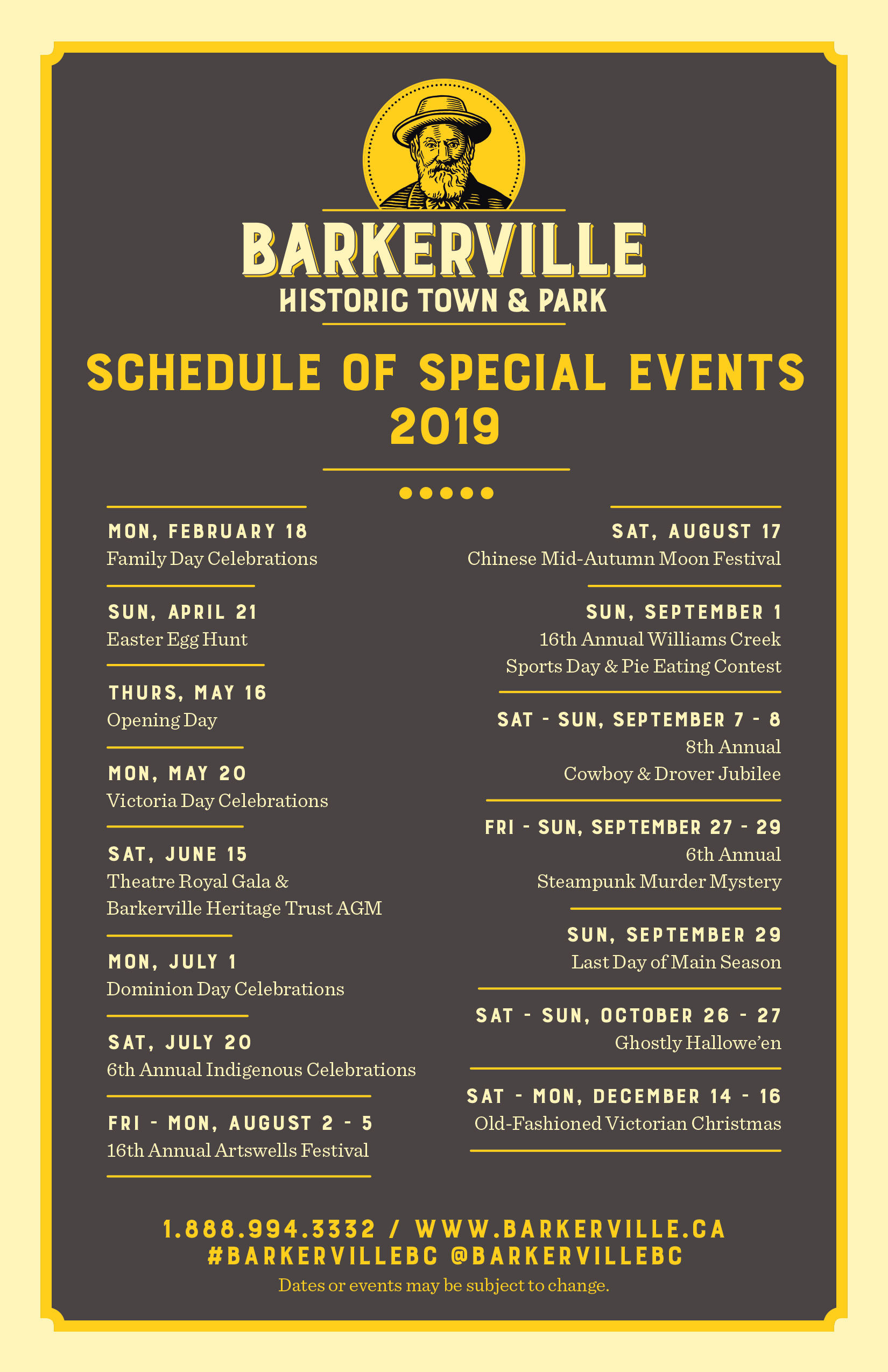 Barkerville Special Events 2019