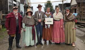 """This intrepid group have ventured north to see the sites of """"the big city"""" and check it out for possible gainful employment. Visit their camp for plenty of hands-on historic experiences that used to be part of daily survival in British Columbia in the 1860s"""